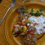 Parmesan-Almond Crusted Fish with Peach-Cilantro Salsa