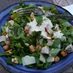 Salad with Pork, Romano shards, Spicy snack mix, Nuts, and Green Chile Ranch Dressing
