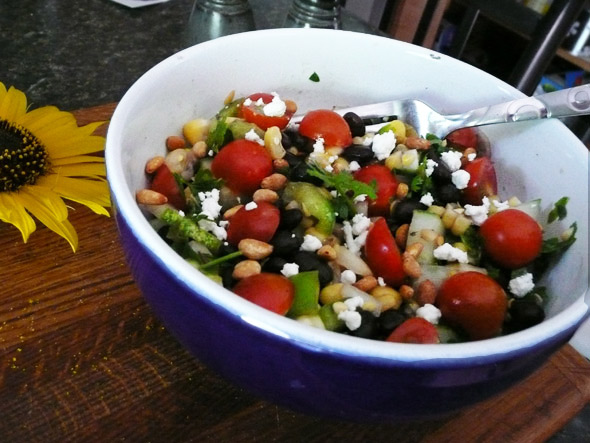 black-bean-corn-salad with tequila lime vinaigrette