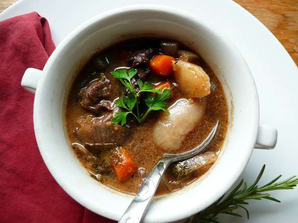 Mahogany Beef Stew with Red Wine and Purple Potatoes