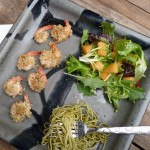 Healthy Herb-&-Parmesan Crusted Shrimp with Angel Hair Pasta and Cantaloupe Salad