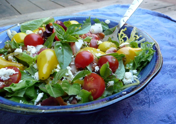 Bacon Lettuce and Tomato Salad with Feta and Basil Vinaigrette