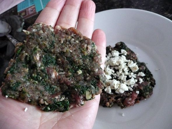 Making the burgers: make a thin patty to put on the top of the cheese stuffing