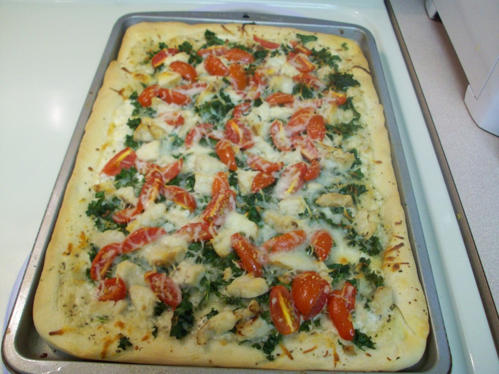 Kale Alfredo Pizza from Let them eat coupons