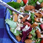 Herb Salad with Breaded Chicken, Feta Cheese, Pinon Nuts and Oriental Vinaigrette