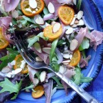 Kumquat Prosciutto Salad with Almonds, Feta & Romano Cheese