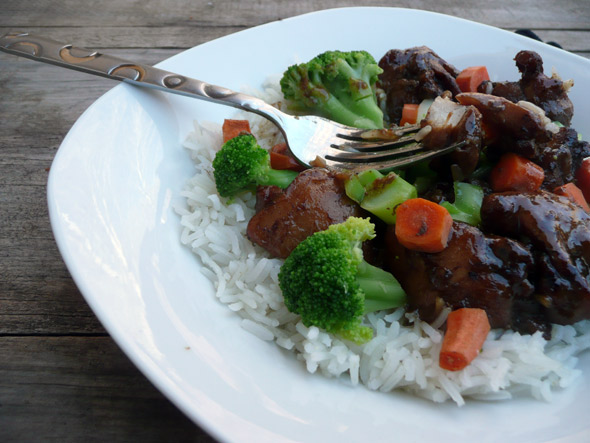 Teriyaki Chicken with Bismati Rice, Broccoli and Carrots
