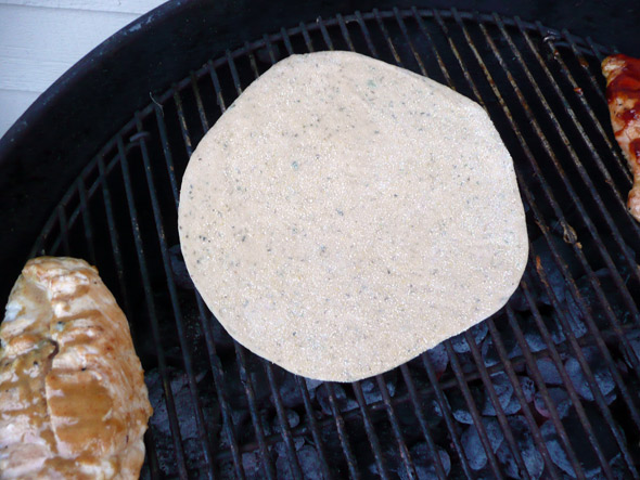 """Grilling Pizza: set the crust on the """"hot"""" side of the grill to cook"""