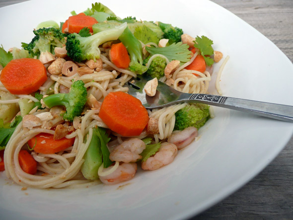 Faster than fast food!  Thai Peanut Noodles with Broccoli, Shrimp and Carrots