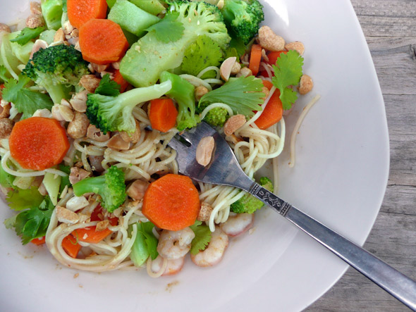 Faster than fast food! Simple Thai Peanut Noodles in minutes