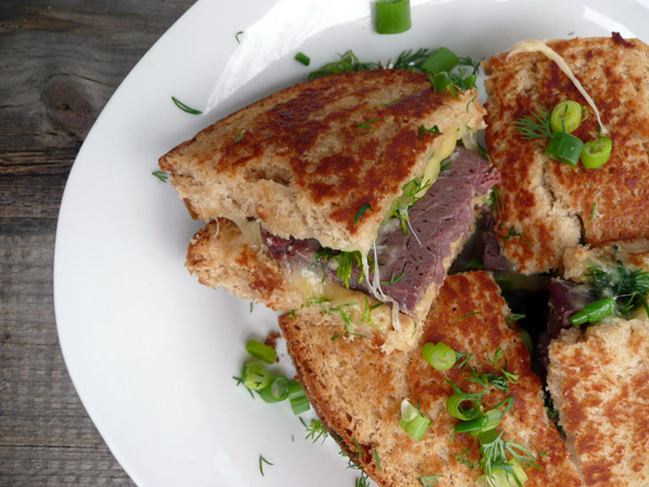 Toasted Corned Venison & Gouda Sandwich with Dill and Green Onion