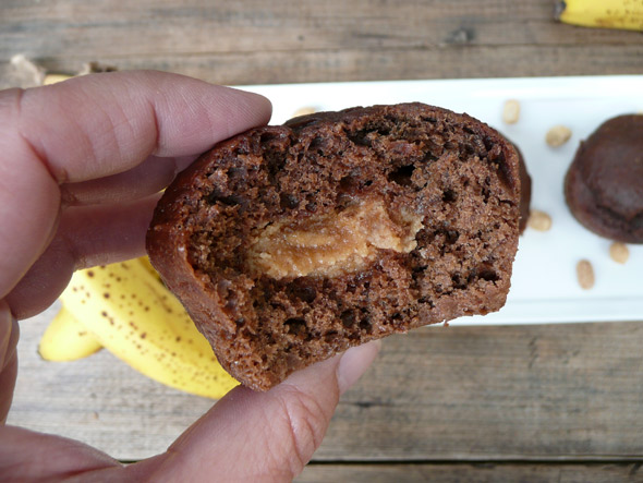 Elvis' Favorite Muffins ... Chocolate & Banana Muffins with a Peanut Butter Filling
