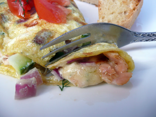 Salmon, Havarti, Blue Cheese & Spring Vegetable Omelet