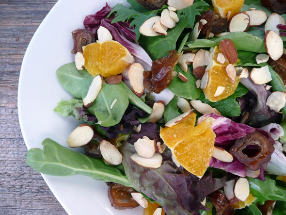 my mom s orange date almond salad mixed greens oranges peeled sliced ...