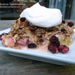 Mulberry Rhubarb Baked Oatmeal Crumble
