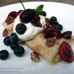 Berry Cherry Cream Crepes with Toasted Pecans