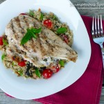 Grilled Chicken Stuffed with Eggplant Tarragon Cream