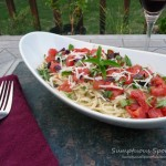 Garlic Prosciutto Cream Noodles with Roasted Tomatoes, Two Cheeses & Fresh Basil