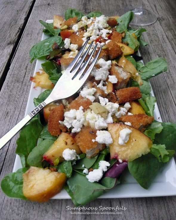 Peach, Pistachio & Chicken Salad with Goat Cheese Crumbles