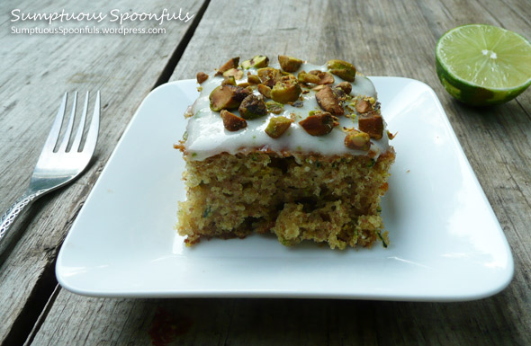 Zucchini Lime Cake with Pistachios ~ Sumptuous Spoonfuls #zucchini #cake #recipe