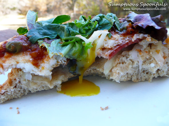 Bacon, Egg, & Tomato Tapenade Sandwich with White Cheddar & Mixed Greens