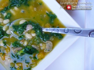 Great Northern Pumpkin, Kale & Sausage Stew ~ Recipe Developed for Swiss Diamond International