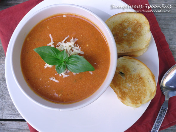 Herbed Tomato White Cheddar Soup with Grilled Cheese on the Side
