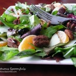 Blueberry Tangerine Manchego Salad with Butter Rum Spiced Pecans & Hot Sweet Pepper Vinaigrette