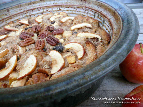 Apple Cinnamon Chai Bread Pudding ~ from Sumptuous Spoonfuls #apple #bread pudding #recipe