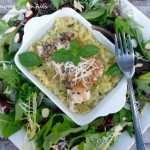 Basil Asiago Baked Walleye with Risotto & Pomegranate Almond Mixed Salad ~ Sumptuous Spoonfuls #fish #recipe