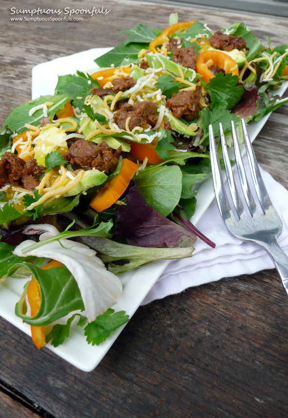 BBQ Beef Avocado Sweet Pepper Salad with Cilantro Marmalade Vinaigrette ~ Sumptuous Spoonfuls #beef #salad #recipe
