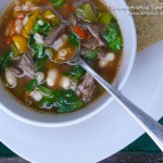 Beef, Bean, Barley, & Sweet Pepper Soup ~ Sumptuous Spoonfuls #beef #soup #recipe