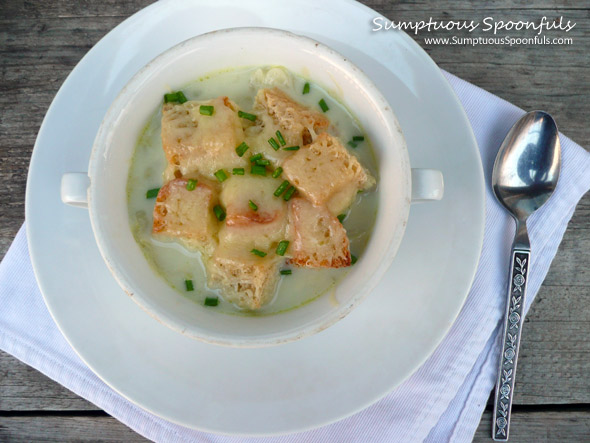 Creamy Havarti Cabbage Soup with Cheddar Croutons