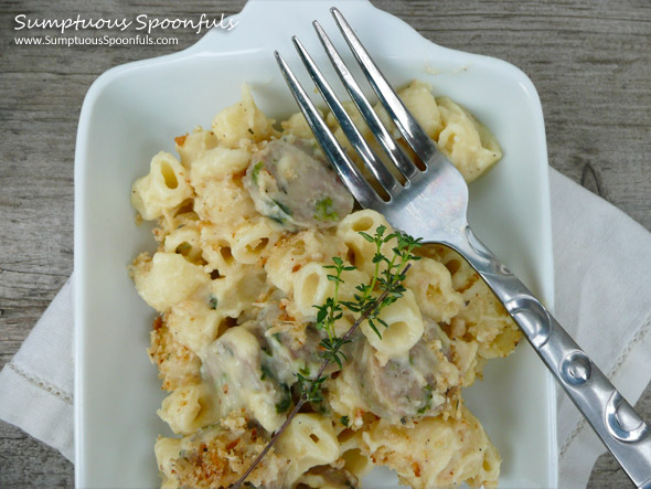 Impossibly Creamy Baked Sausage Macaroni & Cheese