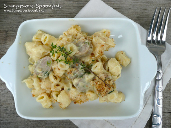 Impossibly Creamy Cauliflower Sausage Mac &- Cheese ~ Sumptuous Spoonfuls #macaroni & #cheese #recipe