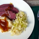 Irish Ale Corned Beef & Butter Braised Cabbage with Bacon Buttermilk Mashed Potatoes & Gravy ~ Sumptuous Spoonfuls #corned #beef #recipe