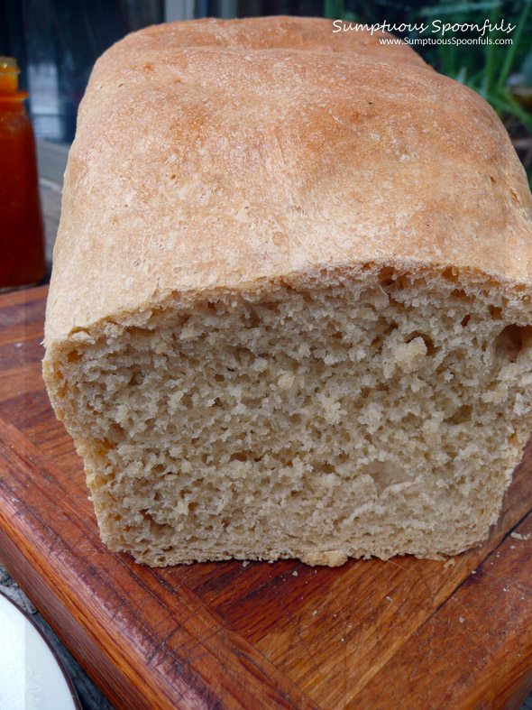 White Whole Wheat Bread ~ Sumptuous Spoonfuls #bread #recipe
