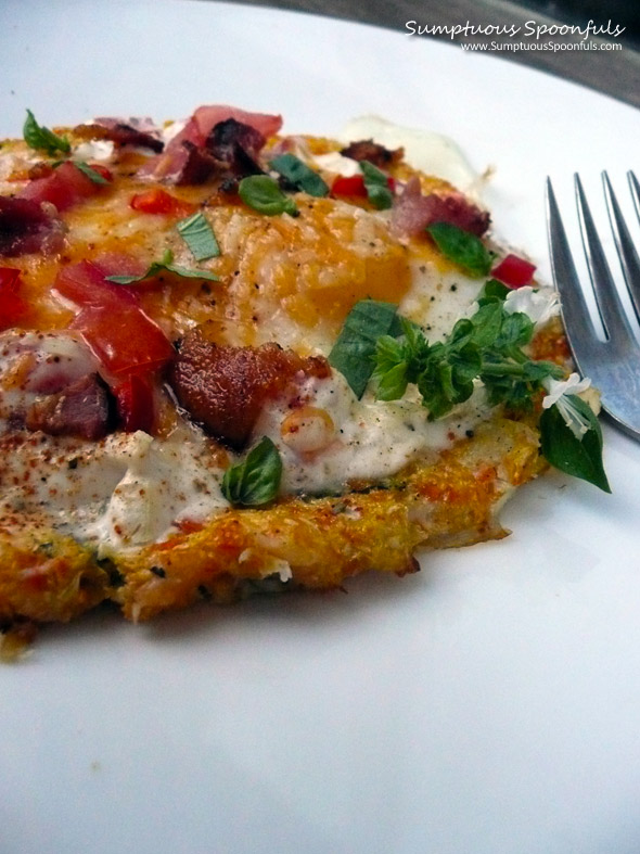 Breakfast Pizza with Herbed Garlic Vegetable Crust ~ Sumptuous Spoonfuls #gluten-free #pizza #recipe