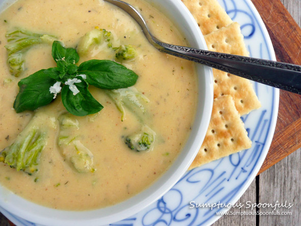 Broccoli Cauli Cheese Soup ~ Sumptuous Spoonfuls #soup #recipe