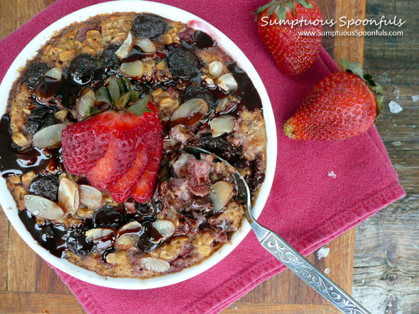 Chocolate Covered Strawberry Breakfast Bake ~ Sumptuous Spoonfuls #breakfast #recipe