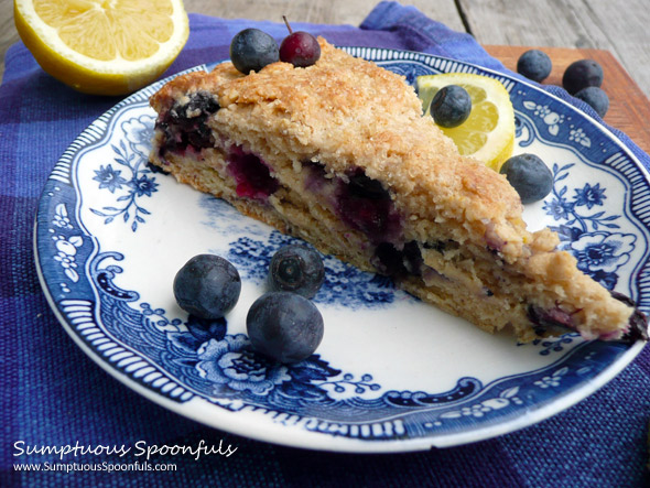 Lemon Blueberry Ricotta Cream Scones ~ Sumptuous Spoonfuls #scone #recipe