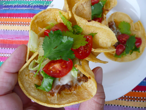 Crunchy Beef & Bean Taco Cups ~ Sumptuous Spoonfuls #Mexican food #recipe