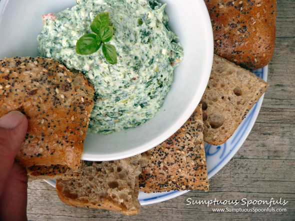Spanakopita Dip ~ Greek-style #Spinach, Feta, & Dill #Dip from Sumptuous Spoonfuls
