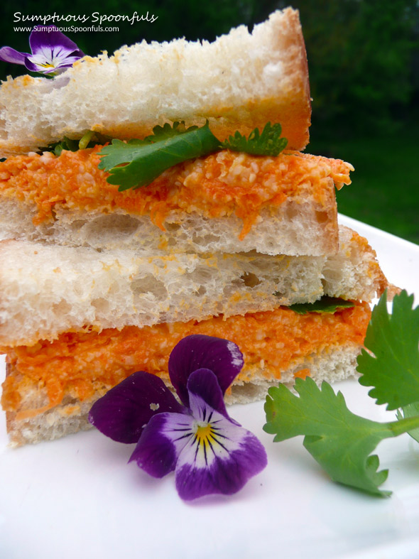 Curried Carrot Cheddar Sandwich ~ Sumptuous Spoonfuls #sandwich #recipe
