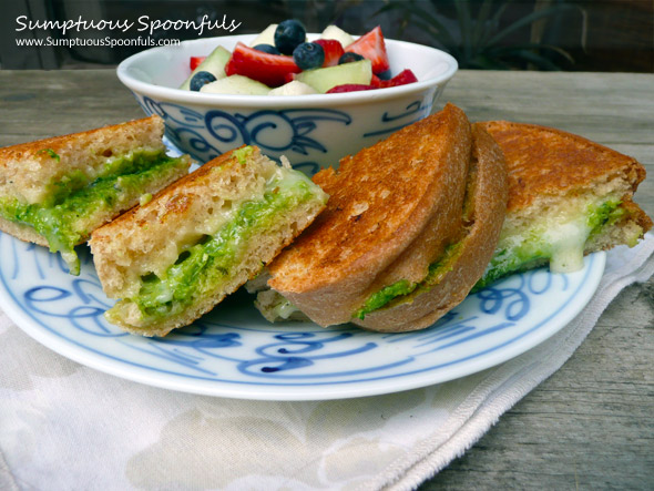 Havarti & Chive Pesto Grilled Cheese Sandwich ~ Sumptuous Spoonfuls #gourmet #grilled #cheese