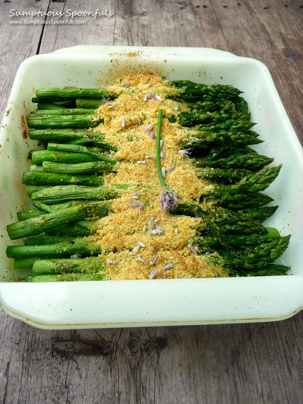 Roasted Asparagus with Asiago Chive Breadcrumbs ~ Sumptuous Spoonfuls #asparagus #recipe