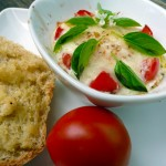 Caprese Baked Eggs with Toast ~ Sumptuous Spoonfuls #caprese #recipe