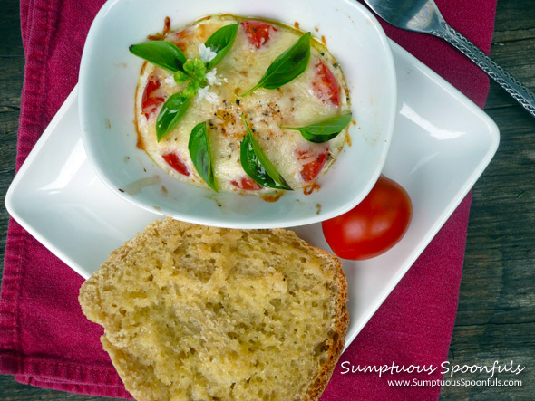 Caprese Baked Eggs with Toast ~ Sumptuous Spoonfuls #breakfast #recipe