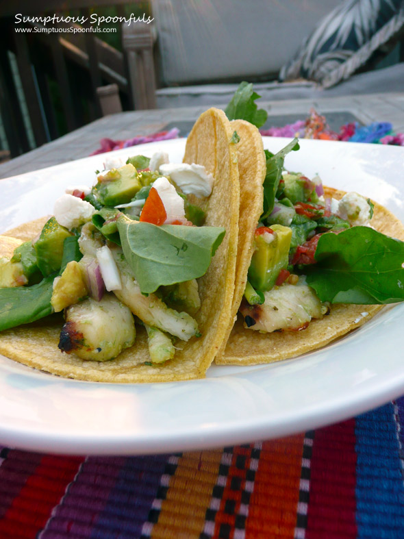 Pesto Grilled Fish Tacos with Avocado Pico de Gallo ~ Sumptuous Spoonfuls #fish #taco #recipe