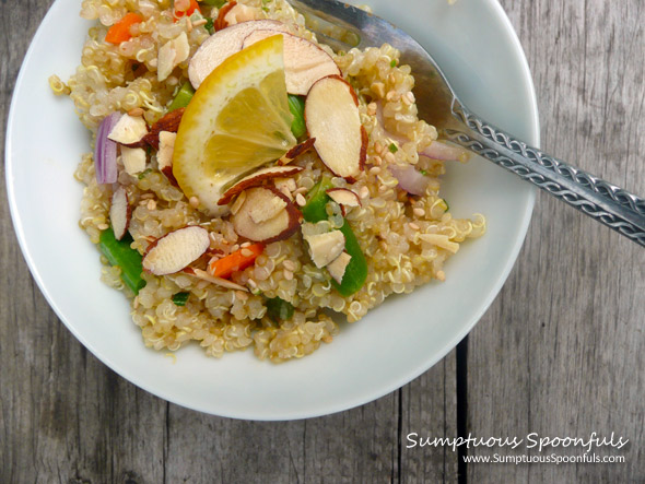 Lemon Asparagus Quinoa Salad with Fresh Rosemary ~ Sumptuous Spoonfuls #quinoa #salad #recipe